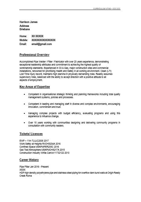 picture of Harrison's old resume